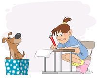 Girl doing lessons Royalty Free Stock Images