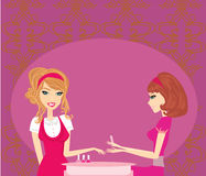 Girl doing manicure in beauty salon Royalty Free Stock Image