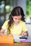 Girl doing math homework Royalty Free Stock Photography