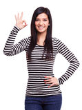Girl doing ok gesture Royalty Free Stock Photos