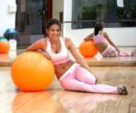 Girl doing pilates Stock Image