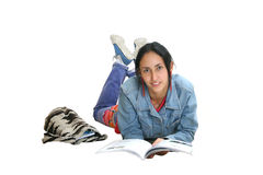 Girl doing revision Stock Images