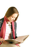 Girl doing revision - over white Royalty Free Stock Image