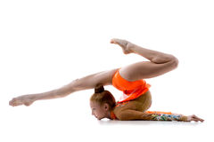 Girl doing rhythmic gymnastics Stock Images