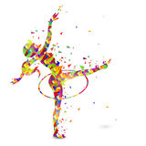 Girl doing Rhythmic Gymnastics with Ribbon. Creative abstract illustration of a girl doing Rhythmic Gymnastics with Hoop on white background for Sports concept Stock Photo