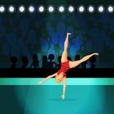 Girl doing Rhythmic Gymnastics on shiny stadium stock illustration