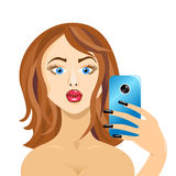 Girl doing self in mirror duck face forward on white Royalty Free Stock Photography