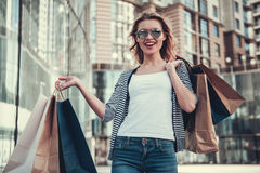 Girl doing shopping Stock Photo