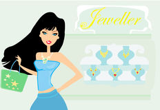 Girl doing shopping in a jewelry store Stock Photos