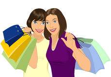 Girl doing shopping Royalty Free Stock Images