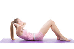 Girl doing sport exercise Royalty Free Stock Images