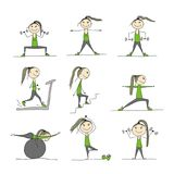 Girl doing sport exercises, sketch for your design Royalty Free Stock Photo