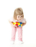 Girl doing sport exercises with toy dumbbells Stock Photo