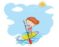 A Girl Doing Stand Up Paddle Board. Illustration vector illustration