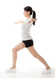 Girl doing stretch exercise Stock Images