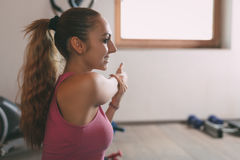 Girl Doing Stretching Exercises Royalty Free Stock Images