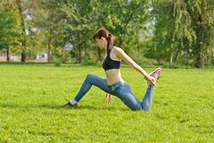 Outdoor fitness, fashion, workout, health concept. royalty free stock photos