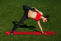 Girl doing stretching. yoga. Woman practices yoga in nature Royalty Free Stock Photography