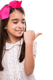 Girl doing thumbs right royalty free stock photography