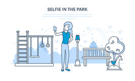 Girl doing a variety of fun selfie in the park. Royalty Free Stock Photos