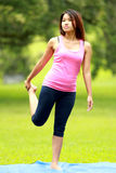 Girl doing workout on grass Stock Images