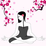 Girl doing Yoga. Illustration of a girl sitting in the Lotus position and meditating Royalty Free Stock Image