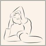 Girl doing yoga exercise. Outline illustration of the  girl doing yoga exercise Stock Images