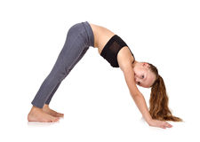 Girl doing yoga exercise Royalty Free Stock Photography