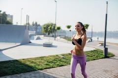 Girl doing yoga fitness exercise. Royalty Free Stock Image
