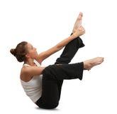 Girl doing yoga. Isolated  over white Stock Image