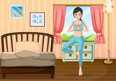 A girl doing yoga near her bedroom royalty free illustration