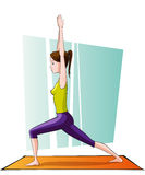 Girl doing yoga. Warrior pose Royalty Free Stock Photography