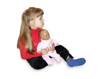 Girl and doll Stock Photography