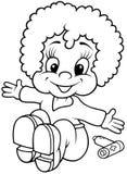 Girl Doll. Black and White Cartoon illustration, Vector Stock Photos
