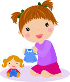 Girl and doll. Illustration of girl and doll Royalty Free Stock Images