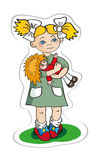 The girl with a doll. Also there is a  in format Adobe Illustrator EPS Royalty Free Stock Images