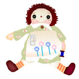 Girl Doll. Illustration of the back white girl doll Vector Illustration