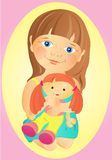 A girl with a doll. Cute little girl with a doll in her arms.Long hair, nice smile Royalty Free Stock Photography