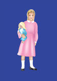 Girl with a doll. This image is a vector illustration and can be scaled to any size without loss of resolution Stock Images
