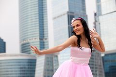 Girl doll in Big City Royalty Free Stock Photos
