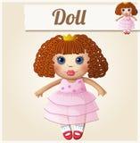 Girl doll. Cartoon vector illustration. Series of children's toys Royalty Free Stock Photo