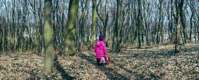 Girl with a doll in the forest Stock Images