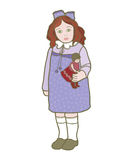 Girl with doll. Hand drawn illustration of a girl in purple dress with doll Royalty Free Stock Photo