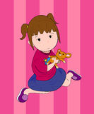 A Girl With Doll. A hand drawn vector illustration of a girl sitting, holding a doll in her hands, isolated on pink background (editable Royalty Free Stock Photo