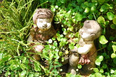 Girl doll and plant. They are girl doll and plant in garden.this plac is in east of thailand Stock Photo
