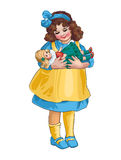 Girl with a doll. Vector illustration Stock Image