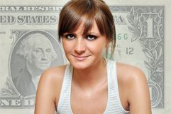 Girl with a dollar in background Stock Image