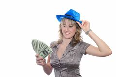 The girl with dollars Royalty Free Stock Image