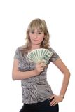 The girl with dollars Stock Image