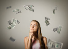 Girl and dollars. Stock Image